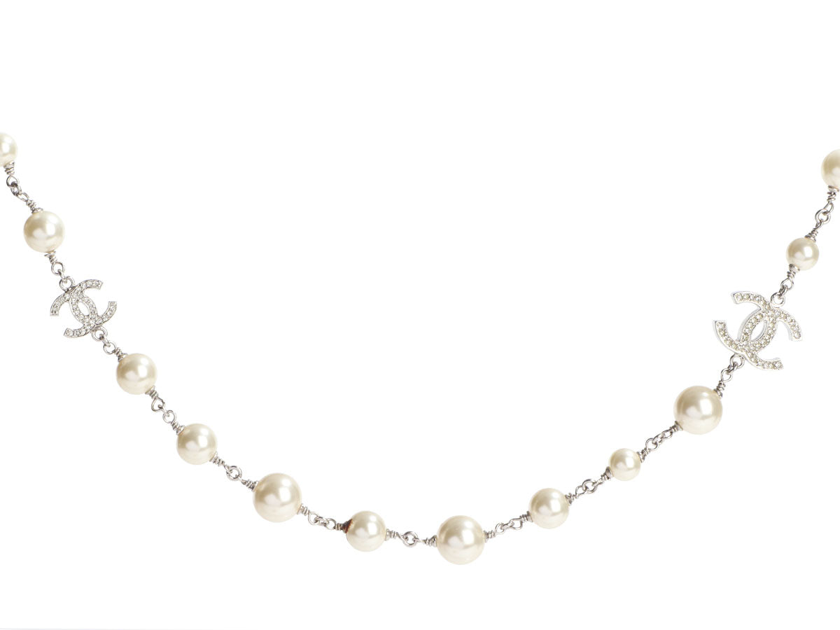 Chanel Long Silver-Tone Pearl and Crystal Logo Necklace