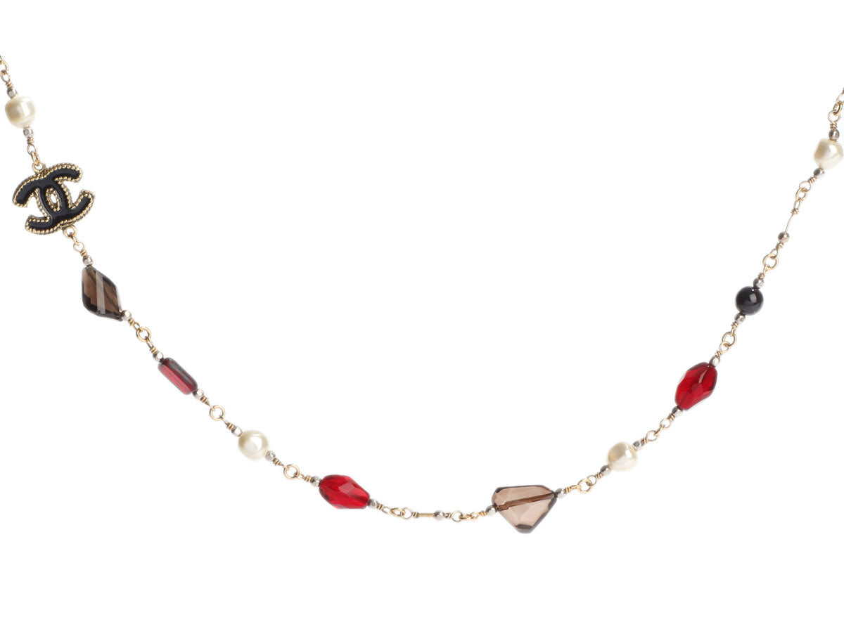 Chanel Long Gold-Tone Red Bead and Pearl Logo Necklace