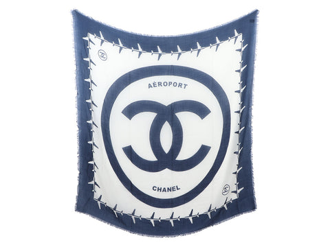 Chanel Navy and White Aeroport Cashmere Shawl