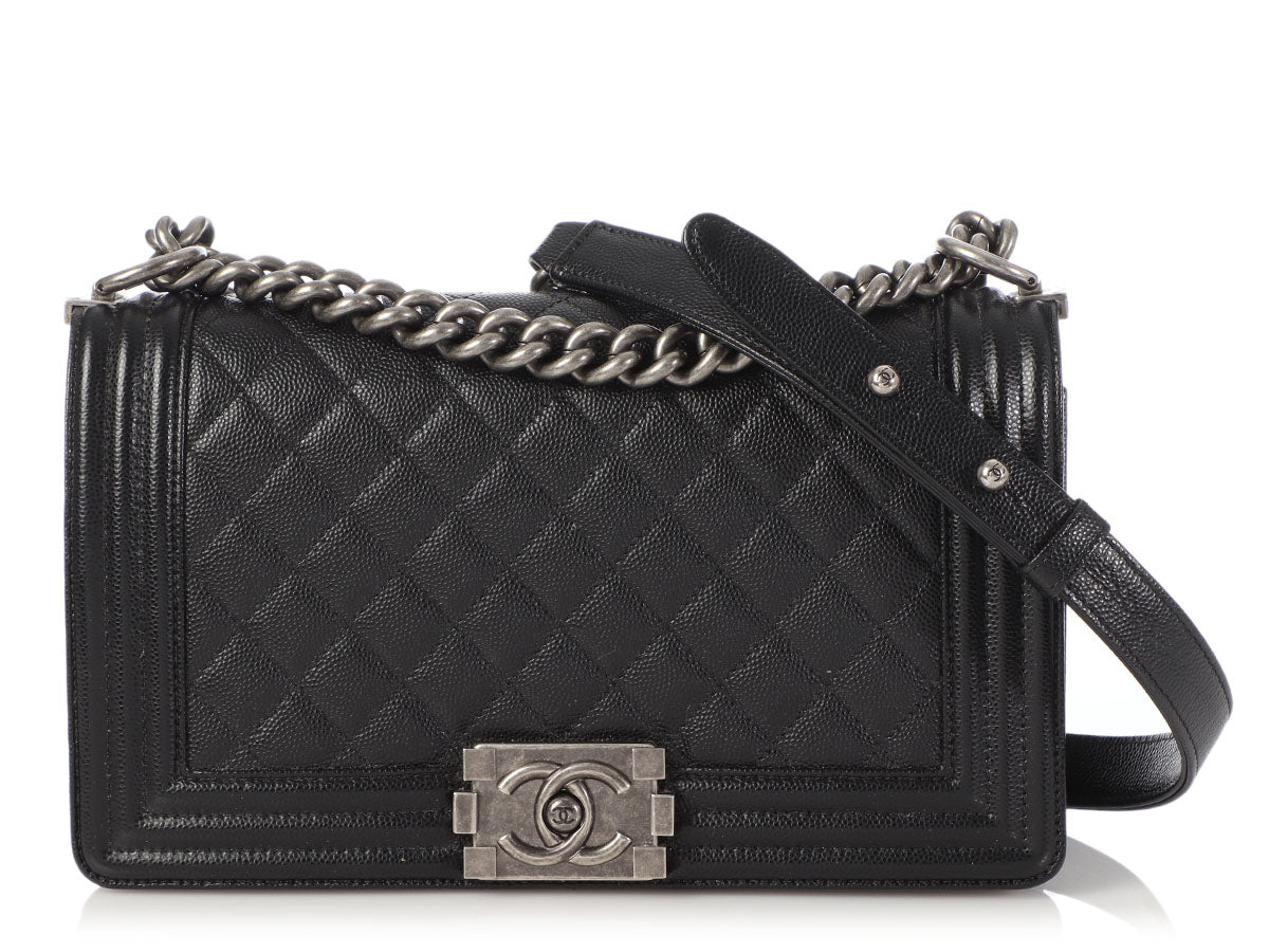 Chanel Old Medium Black Quilted Caviar Boy