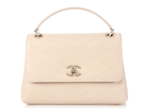 Chanel 19S Beige Chevron-Quilted Calfskin Chic Top Handle Bag