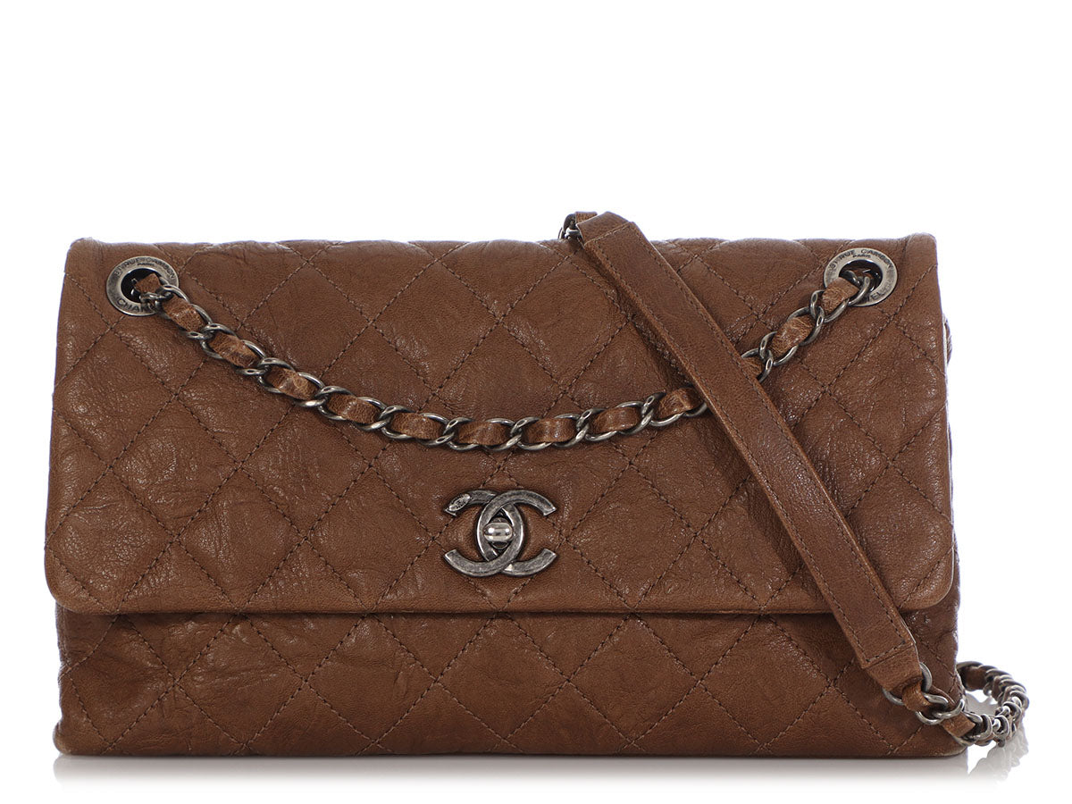Chanel Brown Quilted Distressed Calfskin Flap