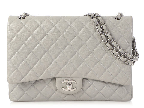 Chanel Maxi Gray Quilted Caviar Classic Double Flap