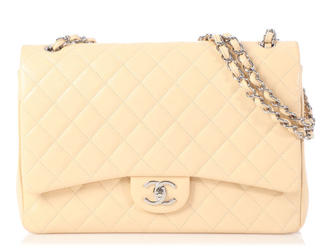 Chanel Maxi Beige Quilted Caviar Classic Double Flap
