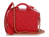 Chanel Small Red Quilted Caviar CC Filigree Vanity Case