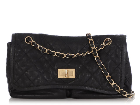Chanel Black Part-Quilted Soft Crumpled Calfskin Mademoiselle Flap