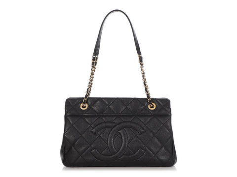 Chanel Black Part-Quilted Caviar Timeless Tote
