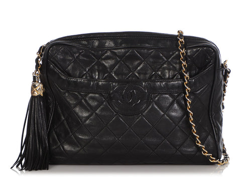 Chanel Vintage Black Quilted Lambskin Camera Bag