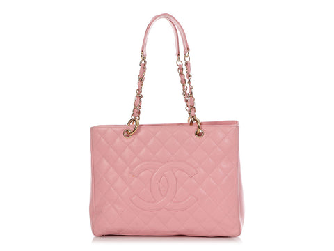 Chanel Pink Part-Quilted Caviar Grand Shopping Tote GST