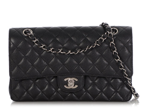 Chanel Black Medium/Large Quilted Caviar Classic Double Flap