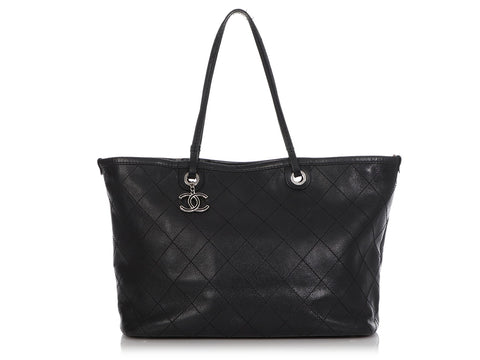 Chanel Extra Large Black Quilted Caviar Shopping Fever Tote