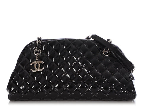 Chanel Small Black Quilted Patent Just Mademoiselle Bowler