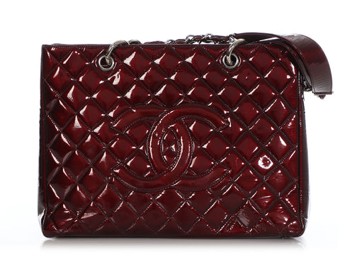 Chanel Burgundy Part-Quilted Patent Grand Shopping Tote GST