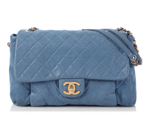 Chanel Blue Quilted Sueded Leather Flap