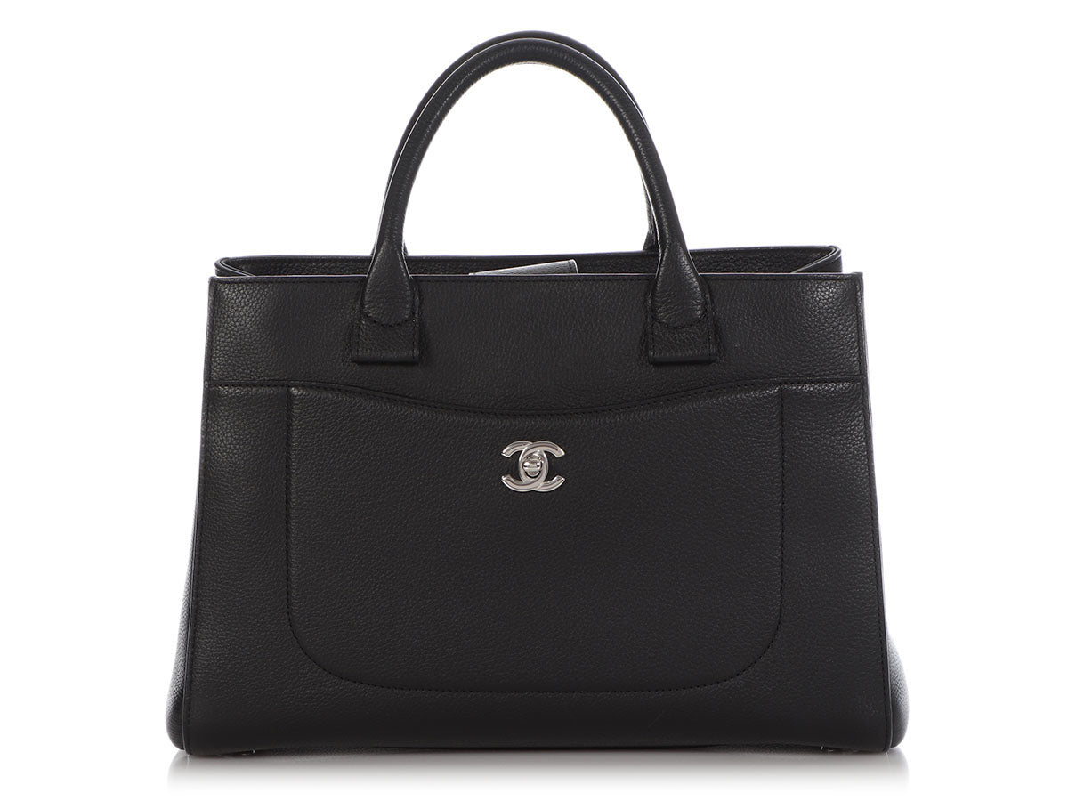 Chanel Small Black Grained Calfskin Neo Executive Tote