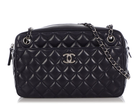 Chanel Large Dark Navy Blue Quilted Lambskin Classic Camera Case