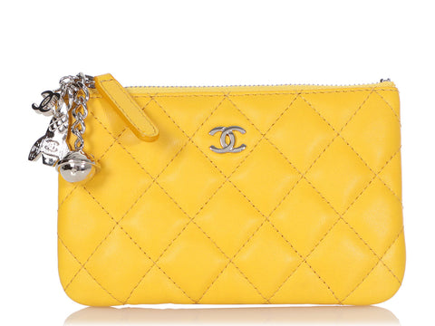 Chanel Mini Yellow Quilted Lambskin Cosmo Charm O Case