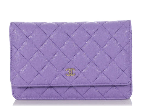 Chanel Purple Quilted Caviar Wallet on a Chain WOC