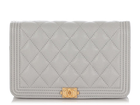 Chanel Light Gray Quilted Caviar Boy Wallet on a Chain WOC