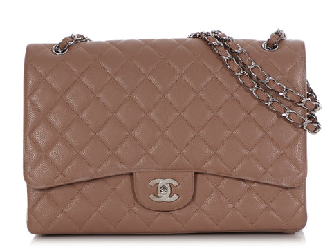 Chanel Maxi Taupe Quilted Caviar Classic Single Flap