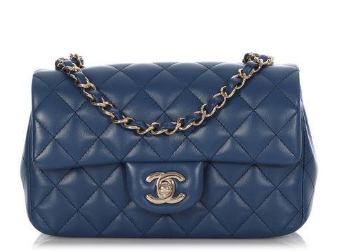 Chanel Mini Rectangular Navy Quilted Lambskin Classic Flap