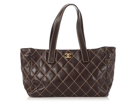 Chanel Brown Diamond-Stitched Leather Tote