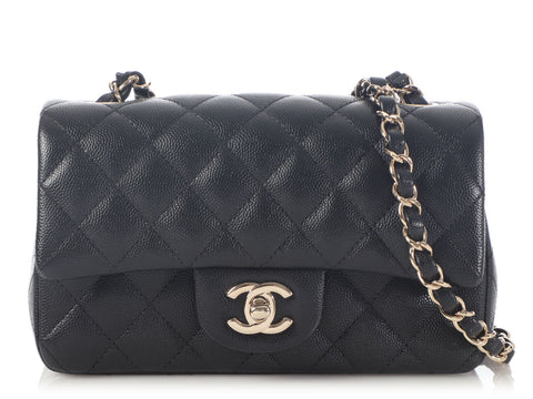 Chanel Mini Black Quilted Caviar Rectangular Classic Flap