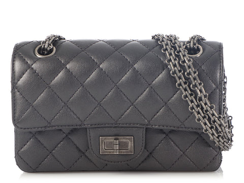 Chanel Mini Metallic Gray Quilted Calfskin 2.55 Reissue 224