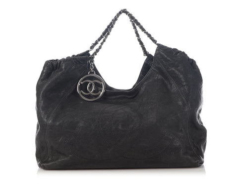 Chanel Extra Large Black Distressed Caviar Coco Cabas