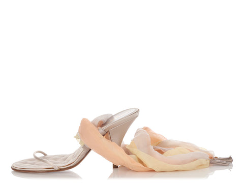 Chanel Light Beige Satin and Silk Wrap Sandals
