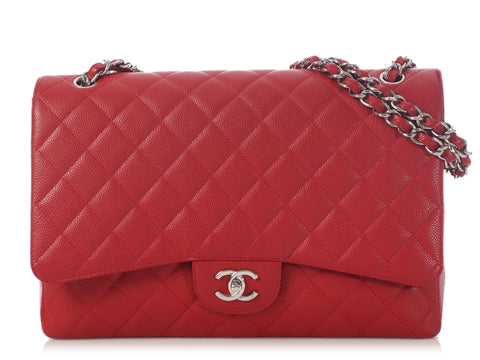 Chanel Maxi Red Quilted Caviar Classic Single Flap