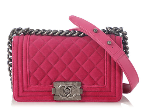 Chanel Mini Rose Quilted Velvet Boy Bag