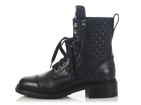 Chanel Black Calfskin Lace Up Boots
