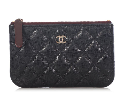 Chanel Small Black Quilted Caviar O Case