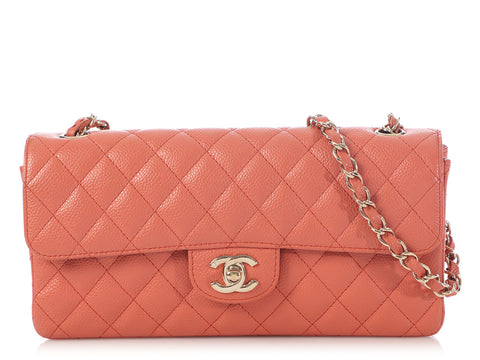 Chanel Salmon Quilted Caviar East-West Flap