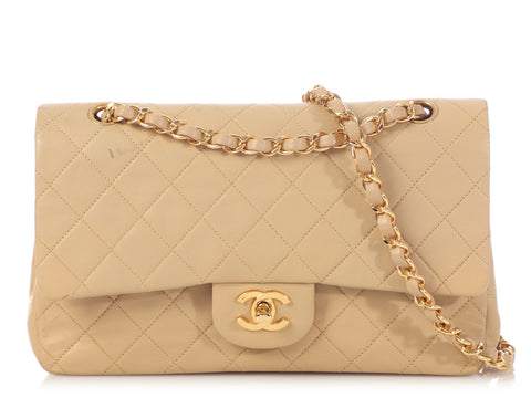 Chanel Medium/Large Beige Quilted Classic Double Flap