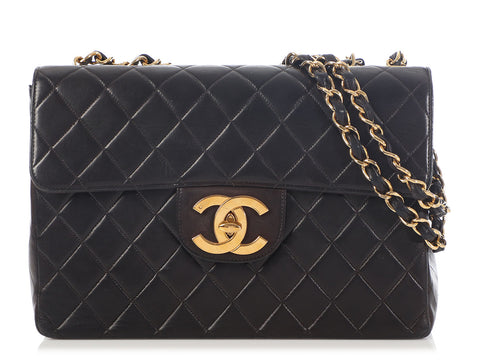 Chanel Vintage Maxi Black Quilted Lambskin Classic Single Flap