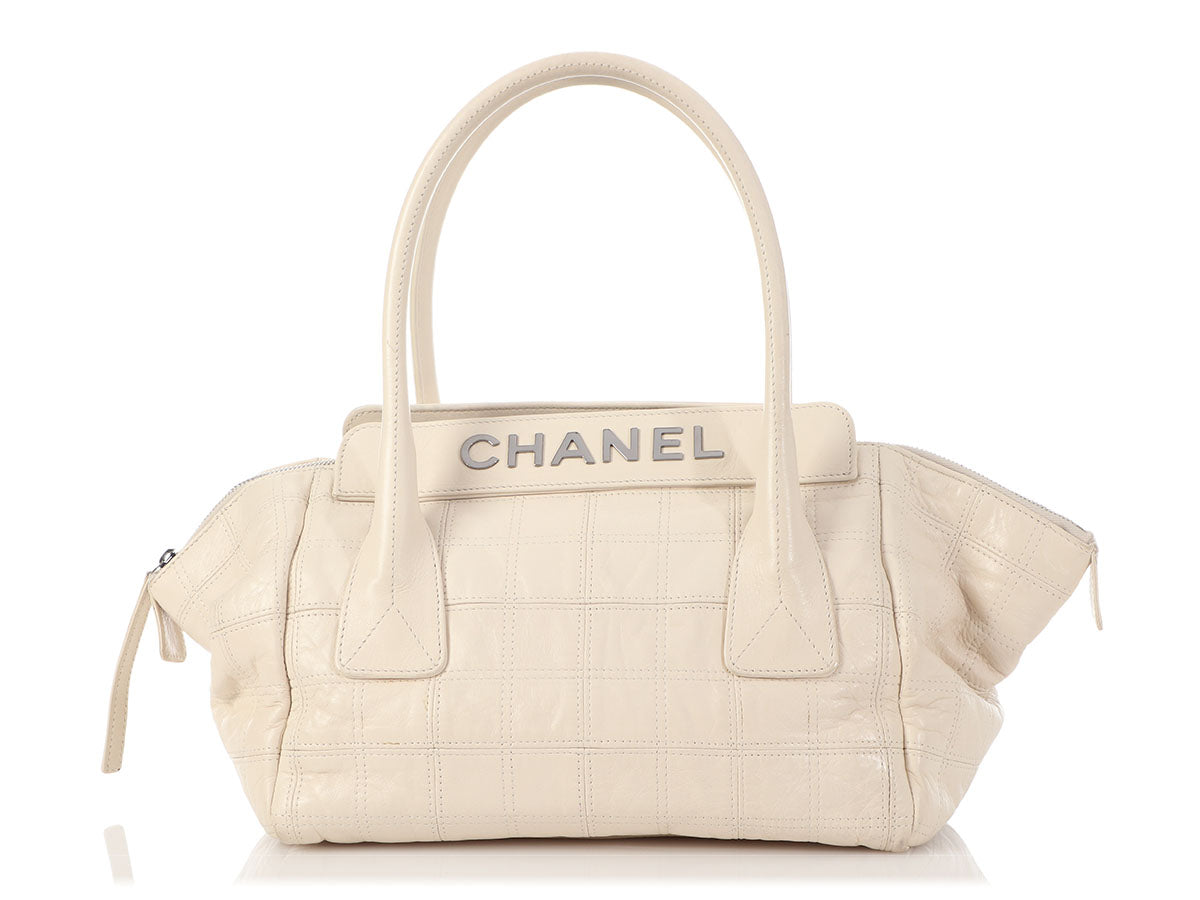 Chanel Cream Chocolate Bar-Quilted Distressed Calfskin Shoulder Bag