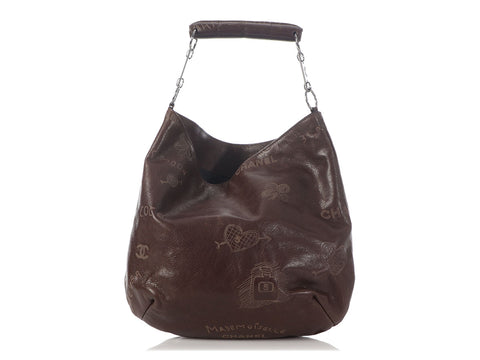 Chanel Brown Calfskin Graffiti Mademoiselle Hobo