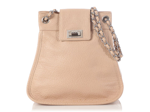 Chanel Beige Grained Calfskin Mademoiselle Accordion Flap