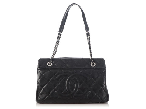 Chanel Medium Black Part-Quilted Caviar Timeless Tote