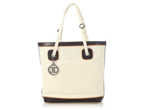 Chanel White Quilted Calfskin Tote with Two-Tone Trim