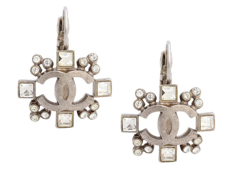 Chanel Silver-Tone Crystal CC Pierced Drop Earrings