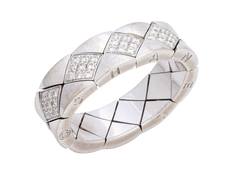 Chanel 18K White Gold Diamond Matelassé Band Ring