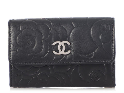 Chanel Black Lambskin Camellia Card Holder