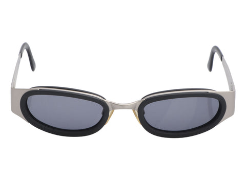 Chanel Black and Silver Oval Sunglasses
