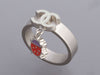 Chanel Silver-Tone and Enamel Ladybug Charm Band Ring