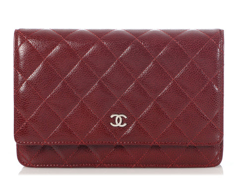 Chanel Burgundy Quilted Caviar Wallet on a Chain WOC