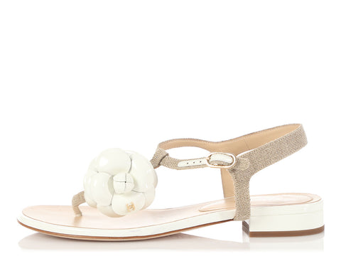 Chanel Beige and White Camellia Thong Sandals