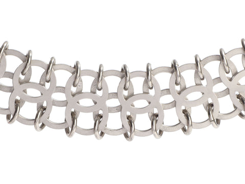 Chanel Wide Silver-Tone Interlocking Link Choker Necklace